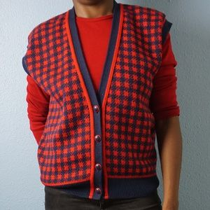 Vintage Pendleton Red & Navy Checkered Wool Vest